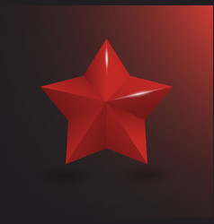 3d red star with shine vector image vector image
