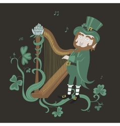 Leprechaun playing the harp and singing vector