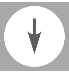 Sharp down arrow flat dark gray and white colors vector