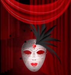 red drape and carnival mask vector image