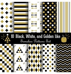 golden black and white geometrical pattern set vector image