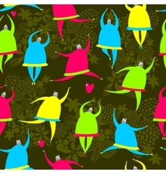 Seamless pattern of dancing girls vector image