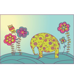 Elephant and flowers vector
