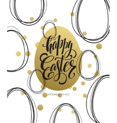 Happy easter easter golden lettering egg vector