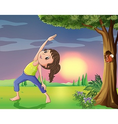A girl exercising near a tree with squirrel vector image