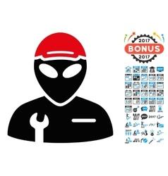 Alien Serviceman Icon with 2017 Year Bonus Symbols vector image vector image