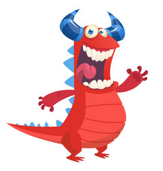 Angry cute cartoon red monster dragon laughing vector