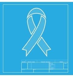 Black awareness ribbon sign White section of icon vector image vector image