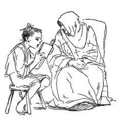 boy reading to an old woman book stool vintage vector image vector image