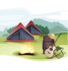 camping zone with tent vector image vector image