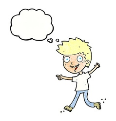 Cartoon crazy excited boy with thought bubble vector