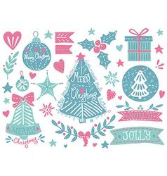 Christmas grunge set vector image vector image
