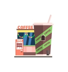 Coffee shop front in christmas vector