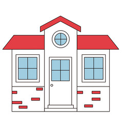 Color sections silhouette of small house facade vector