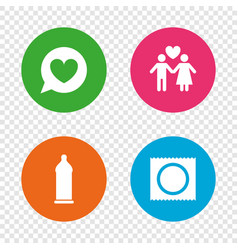 Condom safe sex icons lovers couple sign vector