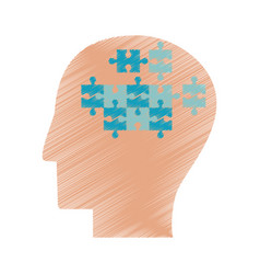 drawing profile head puzzle jigsaw vector image