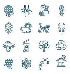 Flat line ecology icons set vector