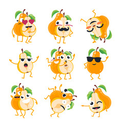Funny pears - isolated cartoon emoticons vector