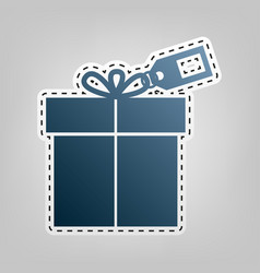 Gift sign with tag blue icon with outline vector