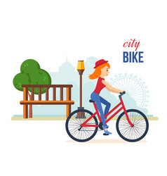 Girl in summer clothes riding bike for park vector