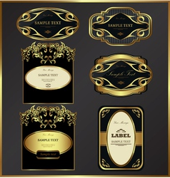 Gold-framed labels vector