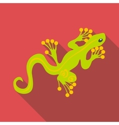 Green gecko icon flat style vector