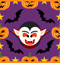 halloween background seamless with dracula vector image vector image