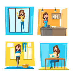 Household chores set with woman doing housework vector