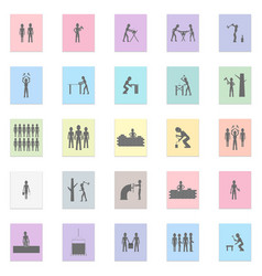 labor people set black icon on color vector image