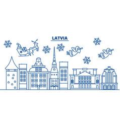 Latvia winter city skyline merry christmas happy vector