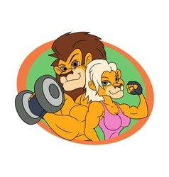 Lion and lioness posing 2 vector