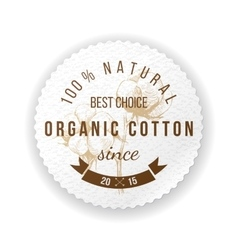 Organic cotton label vector