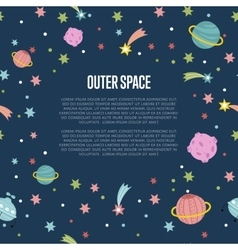 Outer space cartoon web template vector