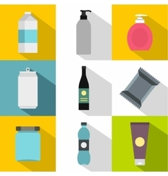 Pack icons set flat style vector
