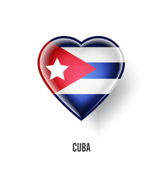Patriotic heart symbol with cuba flag vector