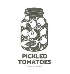 Pickles glass jar flat vector