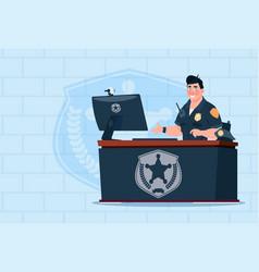 Policeman working on computer wearing uniform cop vector