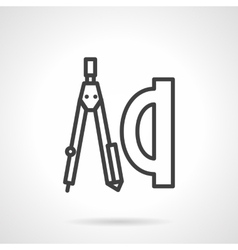 School supplies simple line icon geometry vector