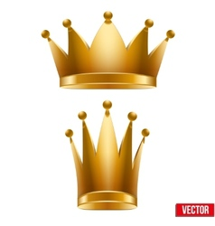 Set of Gold classic royal Crowns King and Queen vector image