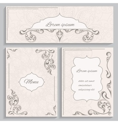 Set ornament vintage cards and invitations vector image vector image