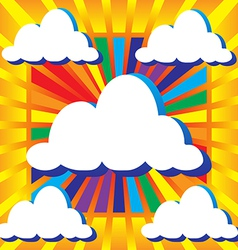 Sky with clouds and rays vector image