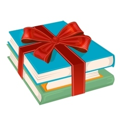 Stack of books wrapped with a red ribbon vector