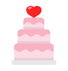 Stacked love cake flat icon valentines day vector