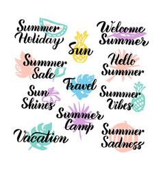 summer hand drawn quotes vector image vector image