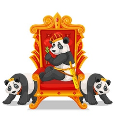 Three pandas at the throne vector