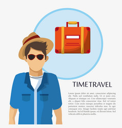 Time travel man tourist sunglasses hat suitcase vector