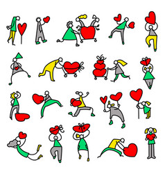 valentine day people icons thin simple pictograms vector image