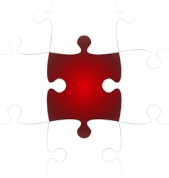 White puzzle pieces with one red missing vector