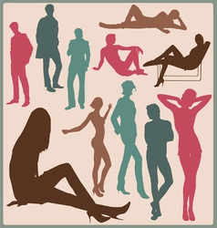 Young people silhouettes vector