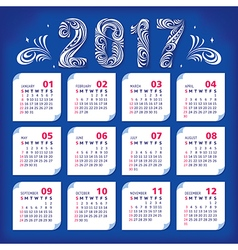 2017 stylized calendar vector image